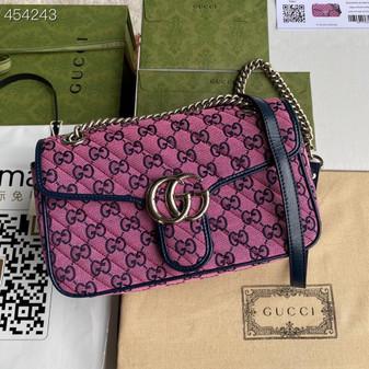 Gucci Marmont Matelasse Shoulder Bag 26cm 443497 Canvas/Calfskin Leather Spring/Summer 2021 Collection, Pink Multicolor