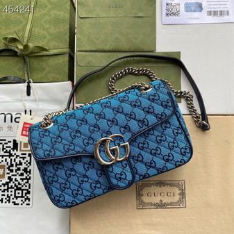 Gucci Marmont Matelasse Shoulder Bag 26cm 443497 Canvas/Calfskin Leather Spring/Summer 2021 Collection, Blue Multicolor