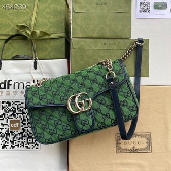 Gucci Marmont Matelasse Shoulder Bag 26cm 443497 Canvas/Calfskin Leather Spring/Summer 2021 Collection, Green Multicolor