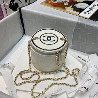 Chanel Chain And Charm Vanity Case 18cm Lambskin Leather Spring/Summer 2021 Collection, White/Black