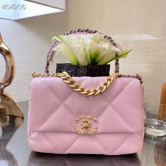 Chanel 19 Flap Bag 26cm Goatskin Leather Spring/Summer 2021, Light Pink