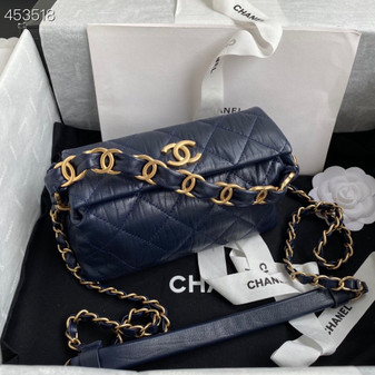 Chanel Small CC Wrapped Strap Bag 20cm Crumpled Lambskin Leather Gold Hardware Spring/Summer 2021 Collection, Navy Blue