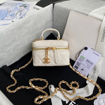 Chanel Miniature Vanity Case Bag 14CM AP2194 Grained Leather Gold Hardware Spring/Summer 2021 Collection, White