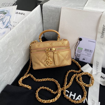 Chanel Miniature Vanity Case Bag 14CM AP2194 Grained Leather Gold Hardware Spring/Summer 2021 Collection, Gold