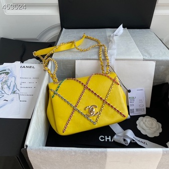 Chanel Entwined Chain Flap Bag 18CM AS2382 Lambskin Leather Gold Hardware Spring/Summer 2021 Collection, Yellow