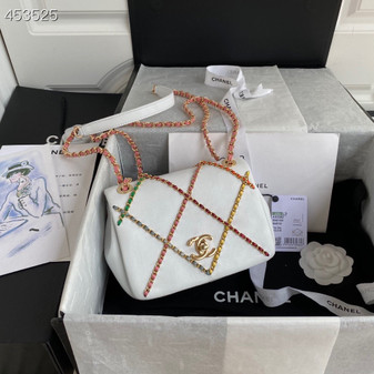 Chanel Entwined Chain Flap Bag 18CM AS2382 Lambskin Leather Gold Hardware Spring/Summer 2021 Collection, White