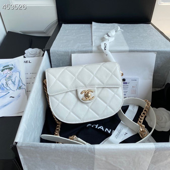 Chanel Mini Round Messenger Bag 18CM AS2485 Calfskin Leather Gold Hardware Spring/Summer 2021 Collection, White