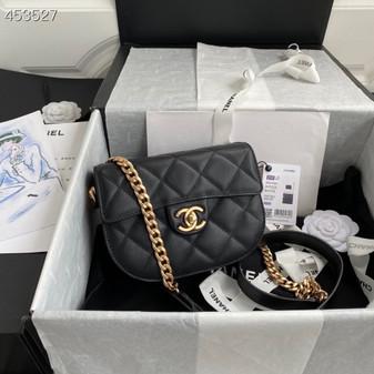 Chanel Mini Round Messenger Bag 18CM AS2485 Calfskin Leather Gold Hardware Spring/Summer 2021 Collection, Black