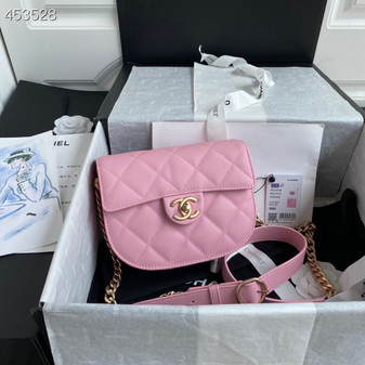 Chanel Mini Round Messenger Bag 18CM AS2485 Calfskin Leather Gold Hardware Spring/Summer 2021 Collection, Pink