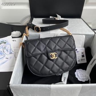 Chanel Mini Round Messenger Bag 24CM AS2484 Calfskin Leather Gold Hardware Spring/Summer 2021 Collection, Black