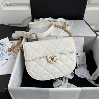Chanel Mini Round Messenger Bag 24CM AS2484 Calfskin Leather Gold Hardware Spring/Summer 2021 Collection, White