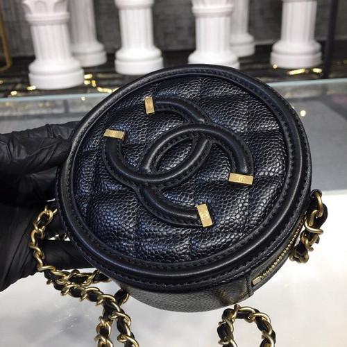 0c3e796e8c25f ... CC Filigree Grained Round Clutch with Chain Bag A81599 12cm Gold  Hardware Caviar Lambskin Leather Cruise ...