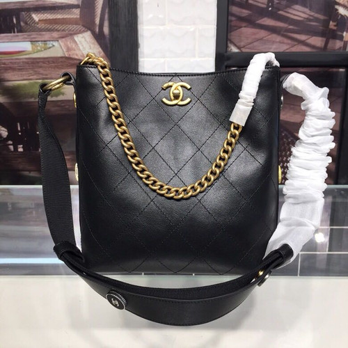 57caeec01b4a Chanel Button Up Hobo Bag 20cm Calfskin Leather Fall/Winter 2018 Act 1  Collection, Black