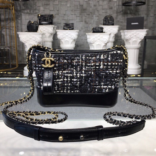 f3f26ee7aadf04 Chanel Gabrielle Small Hobo Bag 20cm Gold Hardware Tweed/Lambskin Leather  Fall/Winter Act 1 2018 Collection, Black/Navy/Brown/Ecru