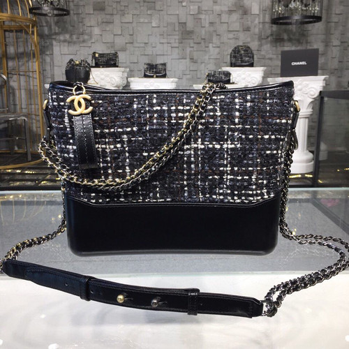 7a2c82ab77c9 Chanel Gabrielle Medium Hobo Bag 28cm Gold Hardware Tweed/Lambskin Leather  Fall/Winter Act 1 2018 Collection, Black/Navy/Brown/Ecru