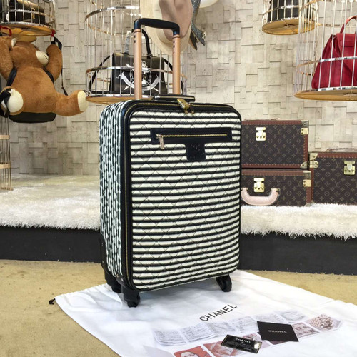 0ed5e189c337 Chanel Travel Trolley Rolling Luggage 50cm Lambskin Leather Gold Hardware  Spring/Summer 2019 Collection, White/Black