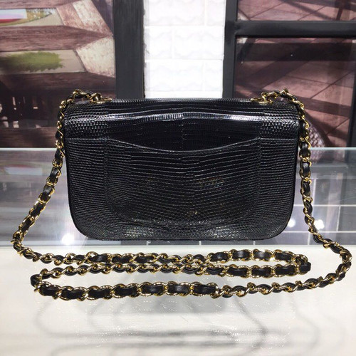 0400cc54f1bd ... Chanel New Mini Flap Bag 20cm Gold Hardware Lizard Skin Cruise 2019  Collection, Black ...