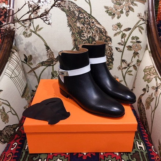 Hermes Neo Ankle Boots Calfskin Leather Fall/Winter 2018 Collection, Black/White