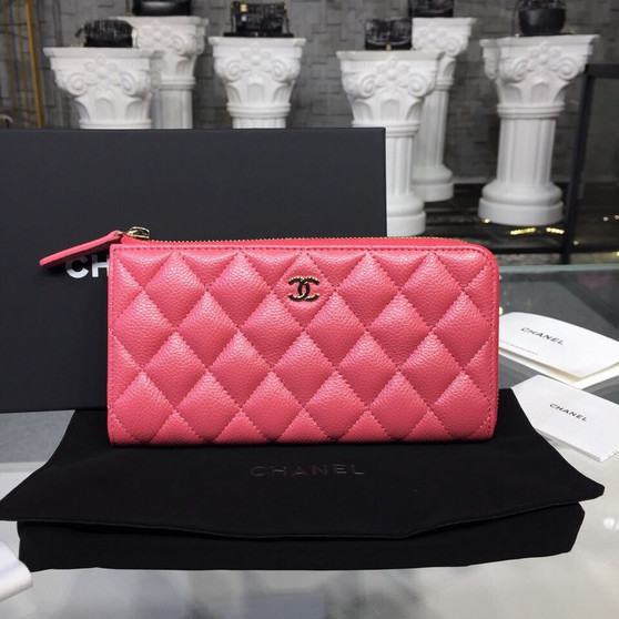 Chanel Zip Wallet Silver Hardware Caviar Leather Fall/Winter 2018 Collection, Salmon Pink