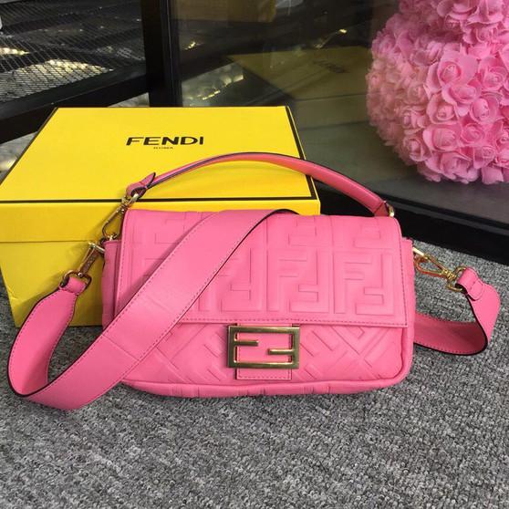Fendi FF Embossed Baguette Bag 26cm Spring/Summer 2019 Collection, Pink