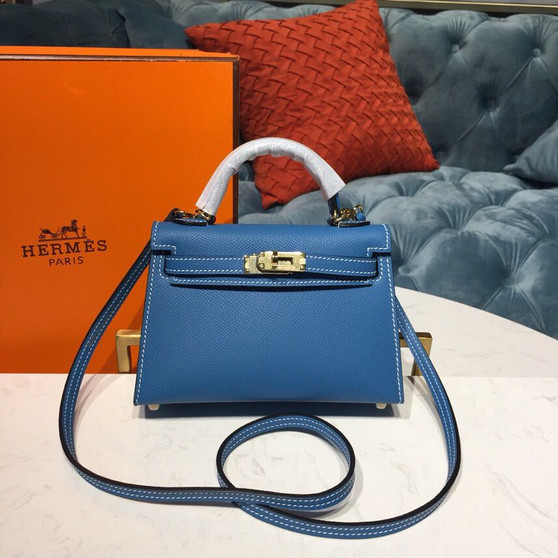 Hermes Mini Kelly 20cm Epsom Bag Handstitched Gold Hardware, Blue Zanzibar