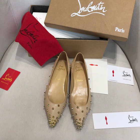 Christian Louboutin Degraspike Studded Pointed-Toe Flats Calfskin Leather Spring/Summer 2019 Collection, Nude