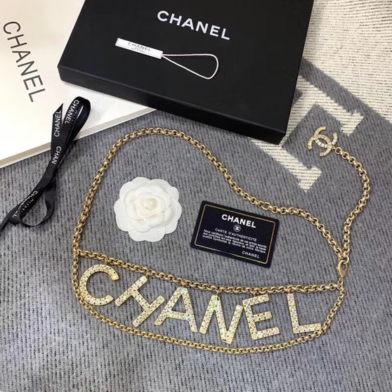 Chanel Metal and Strass Double Chain Belt AB1386 Spring/Summer 2019 Collection, Gold