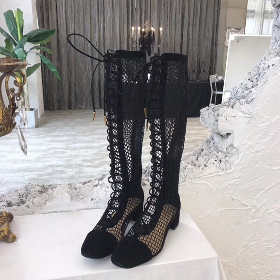 Christian Dior Naughtily-D Knee High Boots Calfskin Leather Spring/Summer 2019 Collection, Black