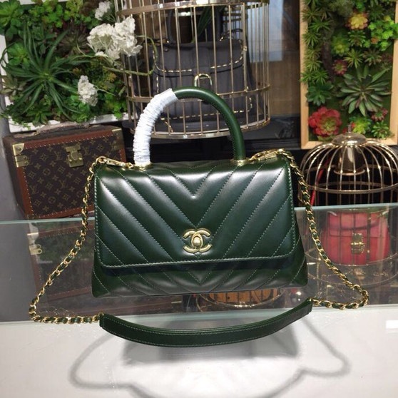 Chanel Coco Handle Bag 24cm Calfskin Leather Gold Hardware Spring/Summer 2019 Act 1 Collection, Dark Green