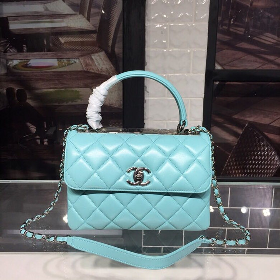 Chanel Trendy CC Top Handle Bag 25cm Calfskin Leather Silver Hardware Spring/Summer 2018 Act 1 Collection, Turqouise