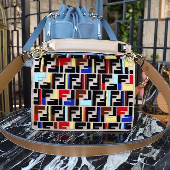 Fendi Kan I FF Logo Bag 26cm Spring/Summer 2019 Collection, Beige/Multicolor