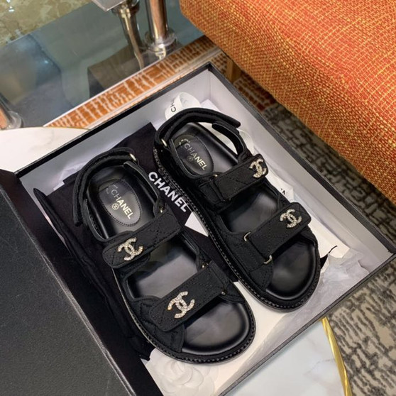 Chanel Jeweled CC Logo Jersey Velcro Sandals Lambskin Leather  Spring/Summer 2020 Collection, Black