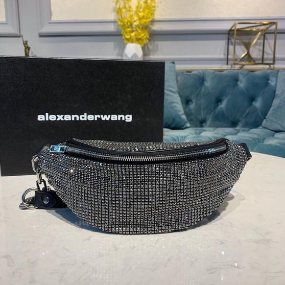 Alexander Wang Attica Belt Bag 28cm Crystal Chain Mesh Calfskin Leather Spring/Summer 2019 Collection, Black/Silver