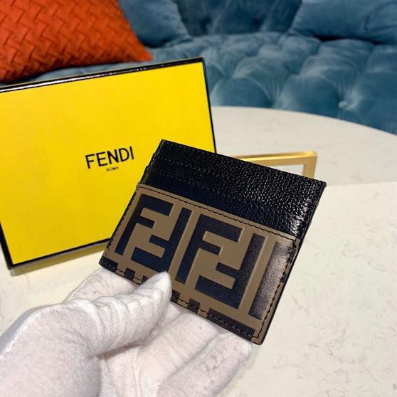Fendi FF Embossed  Logo Card Holder Wallet 10cm Calfskin Leather Spring/Summer 2019 Collection, Brown/Black