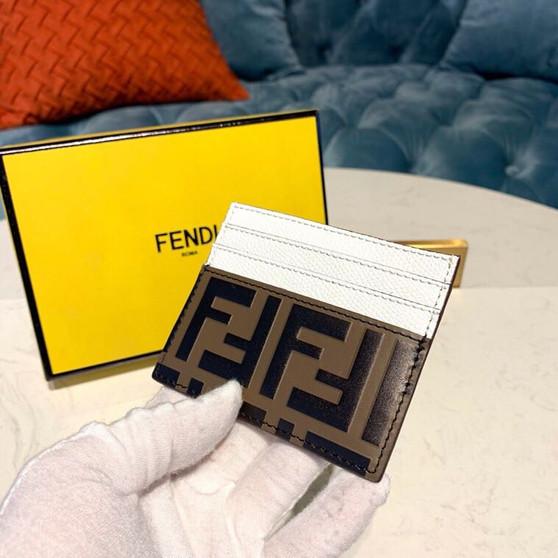 Fendi FF Embossed  Logo Card Holder Wallet 10cm Calfskin Leather Spring/Summer 2019 Collection, Brown/White