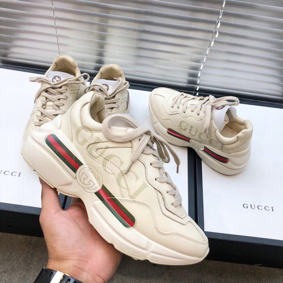 Gucci Rhyton Gucci Logo Unisex Dad Sneakers 524991 Calfskin Leather Spring/Summer 2019 Collection, Off White