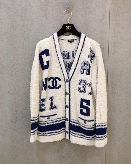 Chanel Varsity Logo iconic Oversized Wool Cashmere Cardigan Fall/Winter 2019 Collection, White/Blue