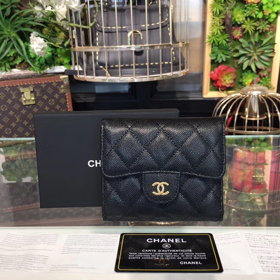 Chanel Compact Wallet 12cm Gold Hardware Caviar Leather Spring/Summer 2019 Collection, Black
