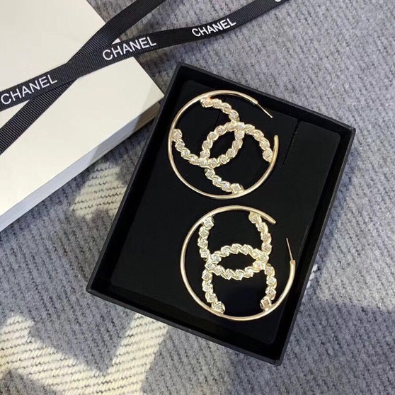 Chanel CC Logo Crystal Embellished Hoop Earrings 97351 Spring/Summer 2019 Collection, Gold
