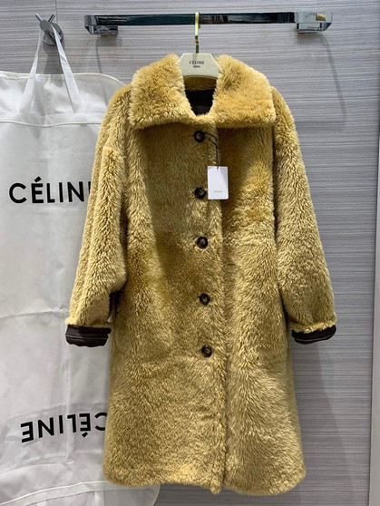 Celine Merino Shearling Wool Lambskin Leather Lining Reversible Coat Fall/Winter 2019 Collection, Dark Brown/Tan