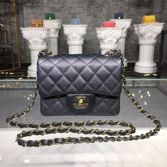 Chanel Mini Flap 18cm Caviar Leather Gold Hardware Fall/Winter 2019 Act 1 Collection, Metallic Midnight Blue