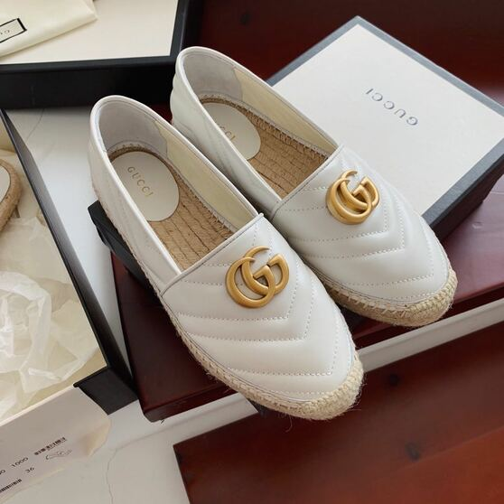 Gucci Marmont Espadrilles Calfskin Leather Spring/Summer 2020 Collection,  White