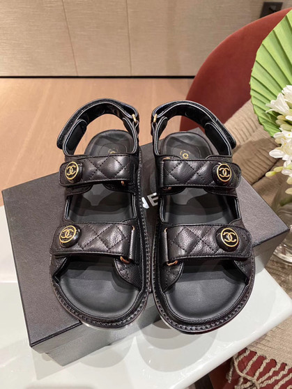 Chanel Velcro Beach Sandals Calfskin Leather Spring/Summer 2020 Act 1 Collection, Black
