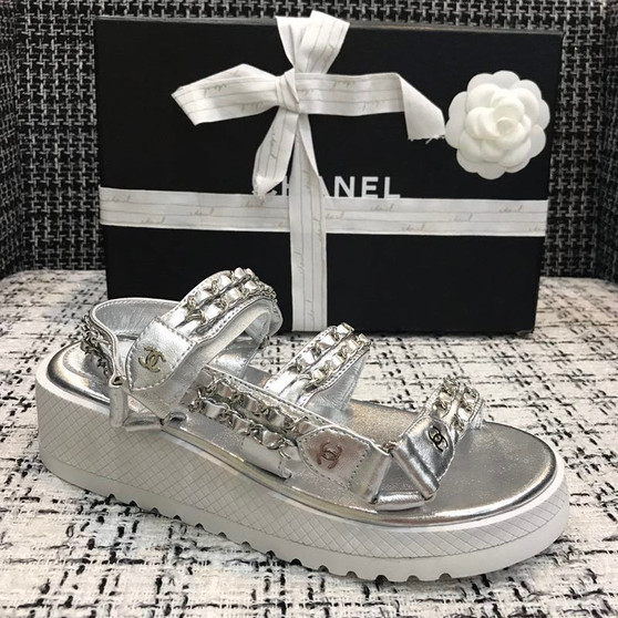 Chanel Chain Embroidered Platform Sandals Calfskin Leather Spring/Summer 2020 Act 1 Collection,  Silver