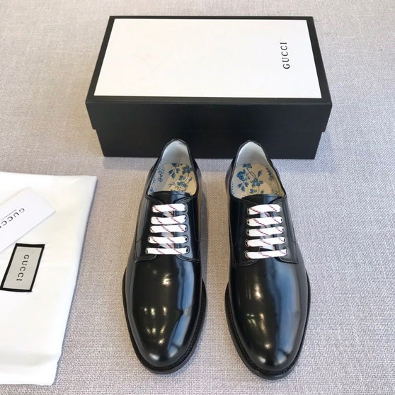 Gucci Bee Motif Lace Up Mens Dress Shoes Patent Calfskin Leather Spring/Summer 2020 Collection, Black