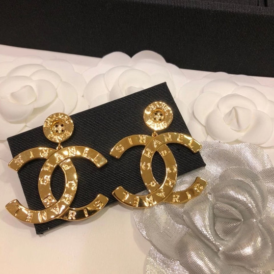Chanel CC Logo Earrings 98376 Fall/Winter 2020 Collection, Gold
