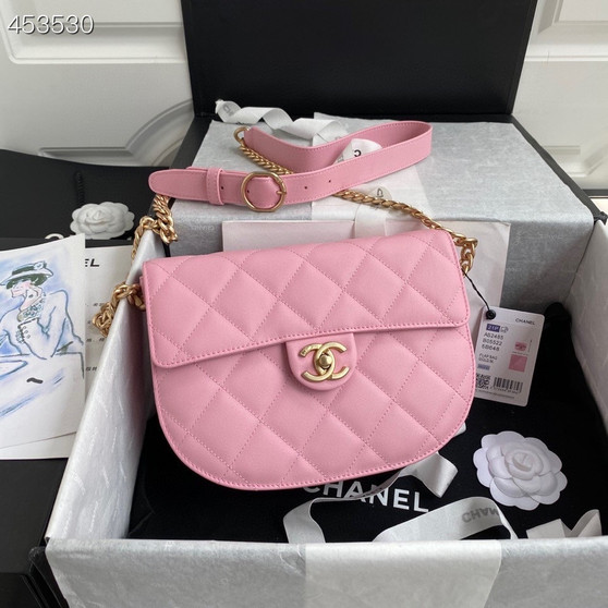 Chanel Mini Round Messenger Bag 24CM AS2484 Calfskin Leather Gold Hardware Spring/Summer 2021 Collection, Pink