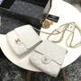 Chanel Imitation Pearls Side Pack Bags 20cm Lambskin Leather Gold Hardware Spring/Summer 2019 Act 2 Collection, White