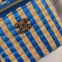 Chanel Raffia Vanity Case Bag 12cm AP1998 Jute Thread/Lambskin Leather Spring/Summer 2021 Collection,  Blue