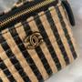 Chanel Raffia Vanity Case Bag 12cm AP1998 Jute Thread/Lambskin Leather Spring/Summer 2021 Collection,  Black